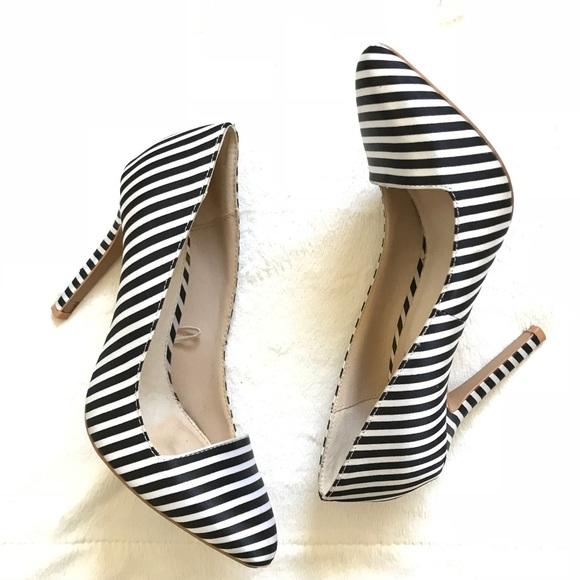 Black White Striped Forever 2 Heels